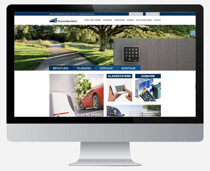 Grafik für Webdesign Relaunch Online Shop System Referenz Torantriebe-Berlin 123 Berlin Design