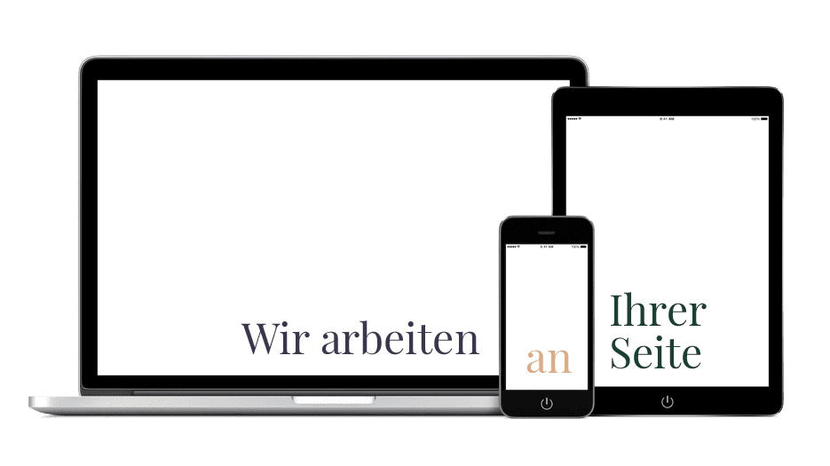 """Grafik mit Slogan """"Wir arbeiten an Ihrer Seite"""" Webdesign Berlin von 123 Berlin Design"""